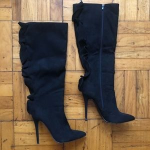 Shoe Dazzle | Black Suede Ruffle Knee High Boots